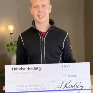 Philip Johansson (18) vant Håndverksdatas lærlingstipend i 2020. Hvem vinner i 2021?